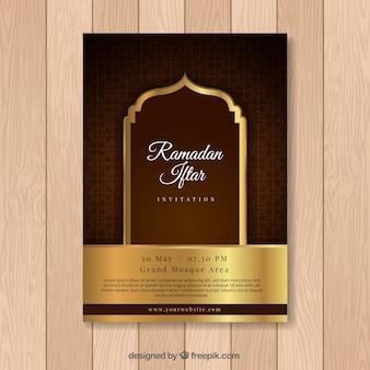 Tarjeta dorada de ramandan iftar