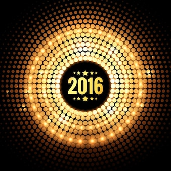 Tarjeta dorada punteada de Nuevo Año 2016