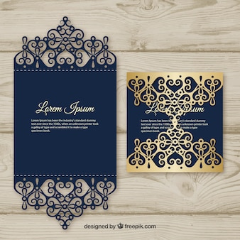 Tarjeta elegante con corte láser y detalle dorado