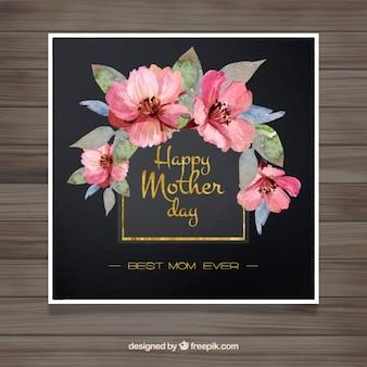 Tarjeta elegante del día de la madre con flores rosas de acuarela