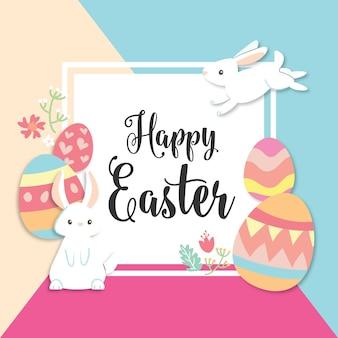 Tarjeta feliz día de pascua con conejito lindo y huevos