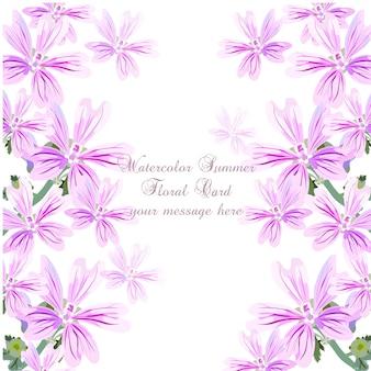 Tarjeta floral de verano en acuarela lila