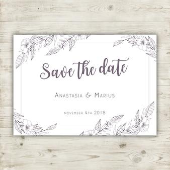 Tarjeta floral dibujada a mano de boda