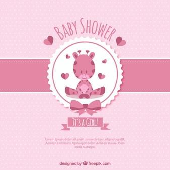 Tarjeta jirafa rosada preciosa bebé