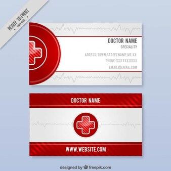 Tarjeta médica con detalles rojos