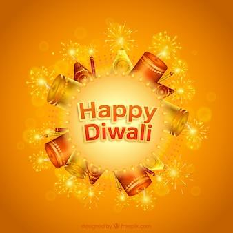 Tarjeta naranja de feliz Diwali