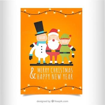 Tarjeta naranja de navidad