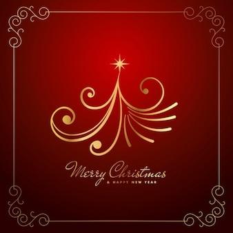 Tarjeta navideña con árbol dorado abstracto
