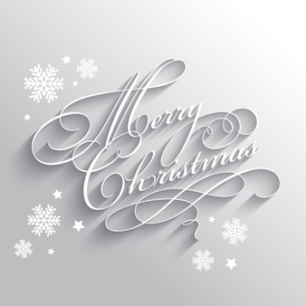 Tarjeta navideña plateada con copos de nieve