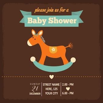 Tarjeta para la fiesta del bebé con un lindo caballo