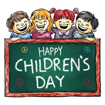 Tarjeta pintada a mano de niños felices