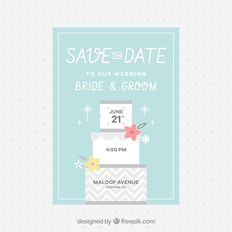 Tarjeta plana de boda con tarta