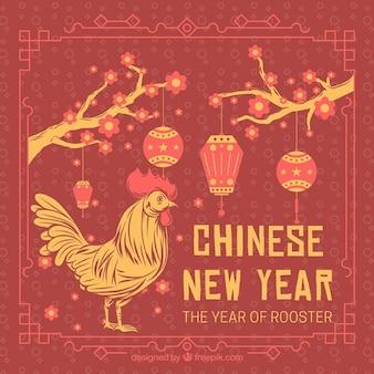 Tarjeta retro de año nuevo chino del gallo