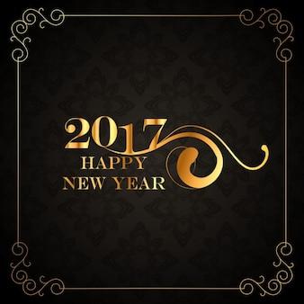 Tarjeta retro de año nuevo dorada