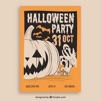 Tarjeta retro de fiesta de halloween dibujado a mano