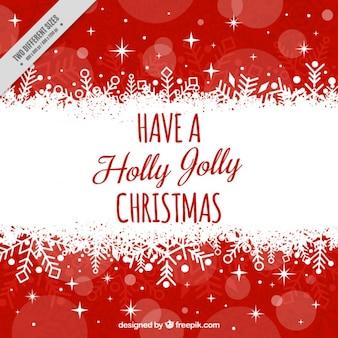 Tarjeta roja y blanca de feliz navidad con estrellas
