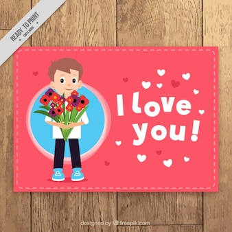 Tarjeta romántica con hombre sujetando un ramo de flores