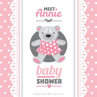 Tarjeta rosa de bienvenida del bebé  con osito de peluche