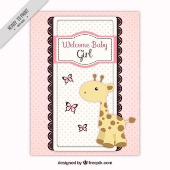 Tarjeta rosa de la llegada del bebé con una jirafa