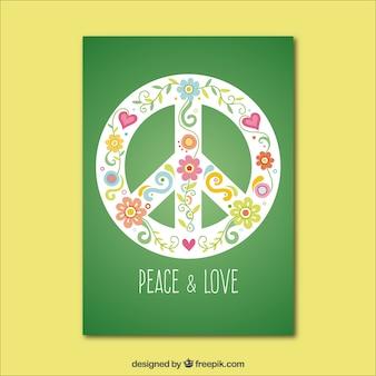 Tarjeta verde de paz y amor