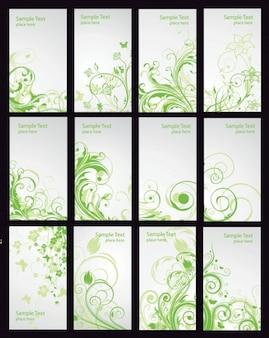 tarjeta verde floral, conjunto de vectores