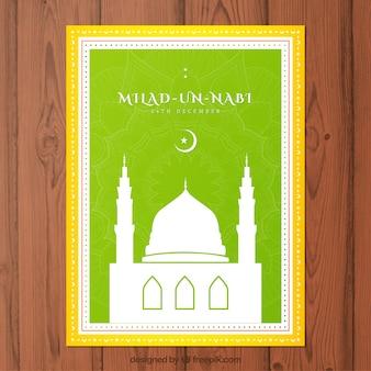 Tarjeta verde Mawlid con una mezquita