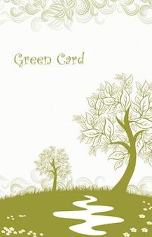 tarjeta verde templete con hojas de árbol en otoño