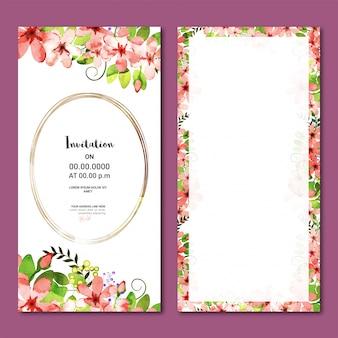 Tarjeta vertical de invitación con flores de acuarela.