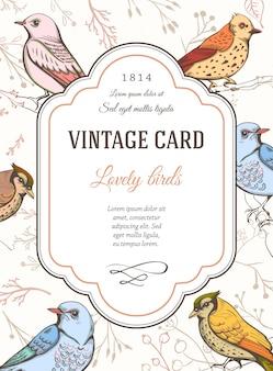 Tarjeta vintage bonita con pájaros