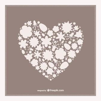 Tarjeta vintage con corazón floral