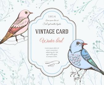 Tarjeta vintage con diseño de pájaros