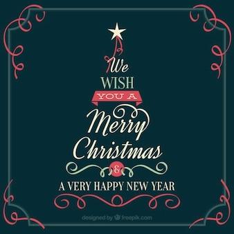 Tarjeta vintage de árbol de navidad con mensaje