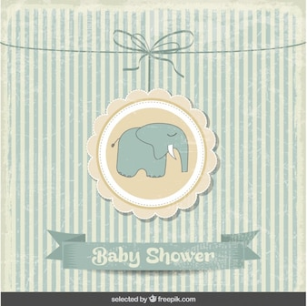 tarjeta vintage de la bienvenida del bebé con elefante