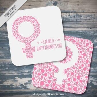 Tarjetas bonitas de símbolo rosa para el día de las mujeres