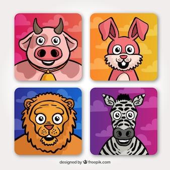 Tarjetas con caras de animales sonrientes