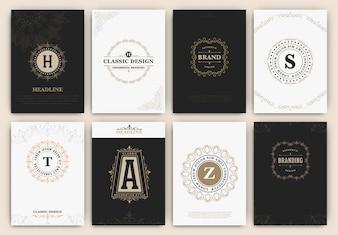 Tarjetas con logotipos ornamentales