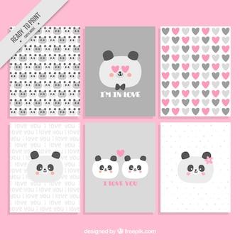 Tarjetas de amor con bonito panda enamorado