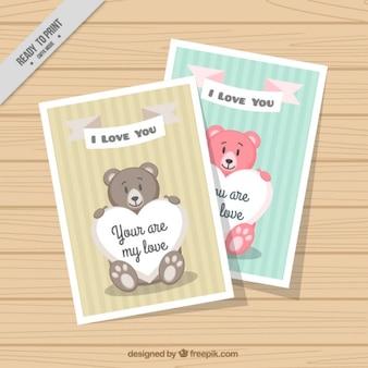 Tarjetas de amor de osos de colores