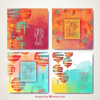 Tarjetas de año nuevo de faroles pintadas a mano