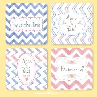 Tarjetas de boda adorables de acuarela con líneas zig-zag
