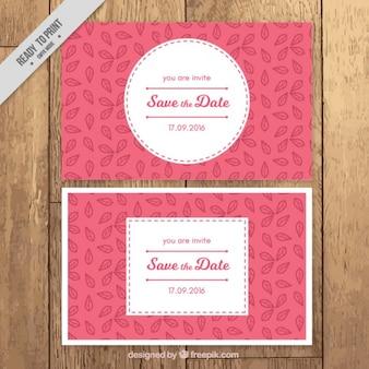 Tarjetas de boda con detalles de hojas