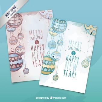 Tarjetas de bolas de navidad de acuarela