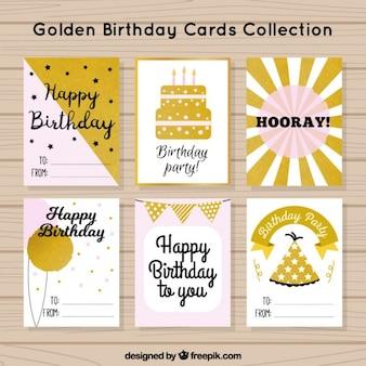 Tarjetas de cumpleaños, color rosa y dorado