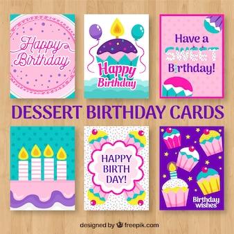 Tarjetas de cumpleaños con postres