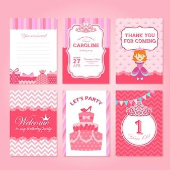 Tarjetas de cumpleaños rosas con princesas