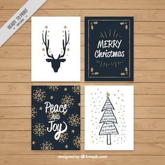 Tarjetas de feliz navidad vintage con detalles dorados