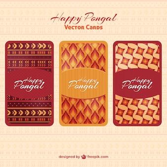 Tarjetas de feliz Pongal de formas abstractas