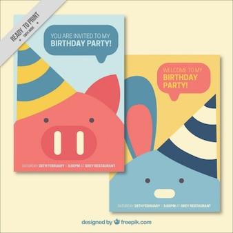 Tarjetas de fiesta de cumpleaños de simpáticos animales