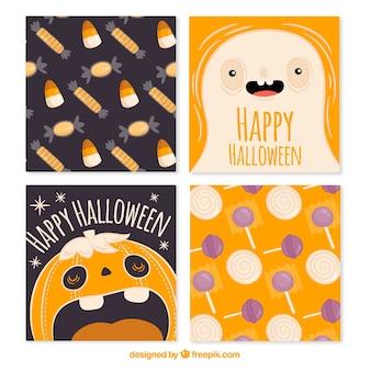 Tarjetas de halloween con monstruos y caramelos