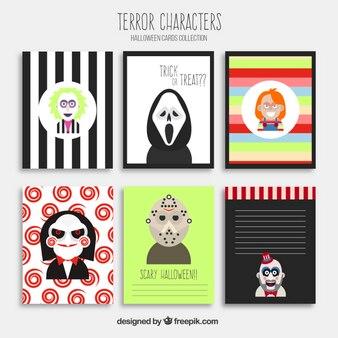 Tarjetas de Halloween con personajes de terror